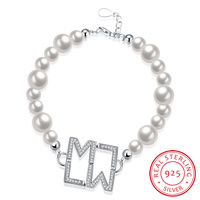 Ann Snow 19cm Chain Shell Pearl Bracelet 925 Sterling Silver Round AAA Crystal Letters Charm Bracelets
