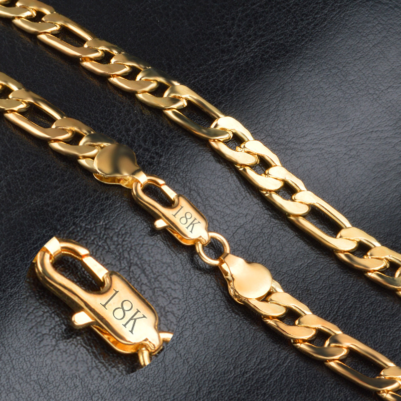 GNIMEGIL 8mm 20 Gold Color Accessories Noble Glossy Figaro Chains Necklaces for Men Fashion Link Chain Male Gifts Jewelry