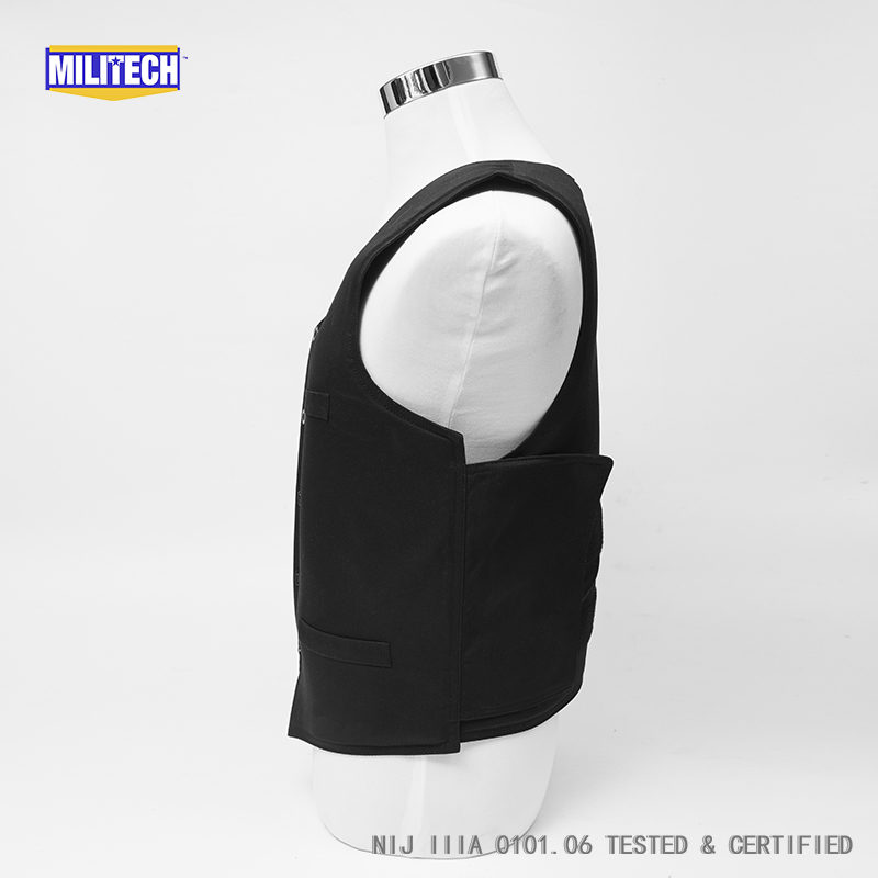 Image 3 - Militech Ballistic BulletProof Vest NIJ IIIA 3A and Level 2 Stab VIP Black Concealable Covert Twaron Aramid Bullet proof Vest-in Safety Clothing from Security & Protection