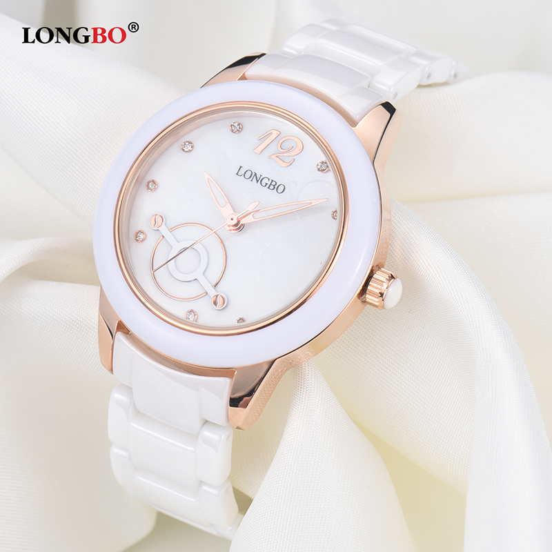 2017 LONGBO Luxury Brand Fashion Quartz Ceramic White Gold Strap Women Wrist Watch Unique Geneva Hodinky Clock Relogio Feminino longbo luxury brand fashion quartz watch blue leather strap women wrist watches famous female hodinky clock reloj mujer gift