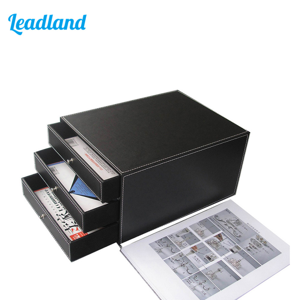 3-Drawer PU Leather File Cabinet Desk Document File Organizer Tray Holder File Document Drawer