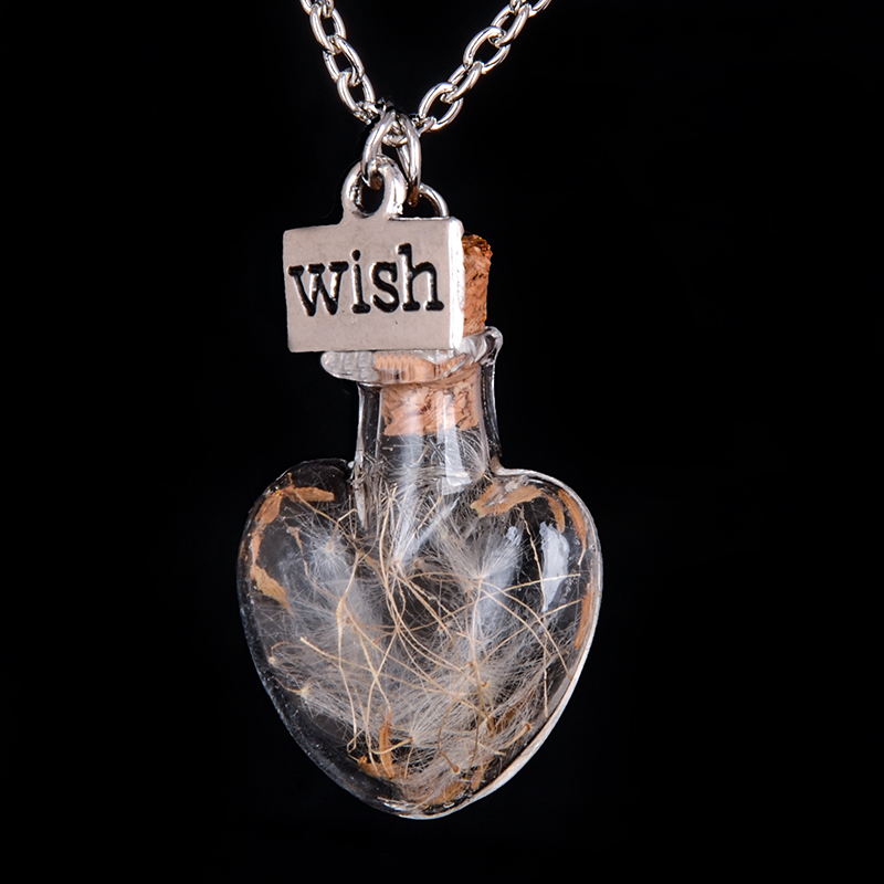 Heart bottle Wish Vial Necklace