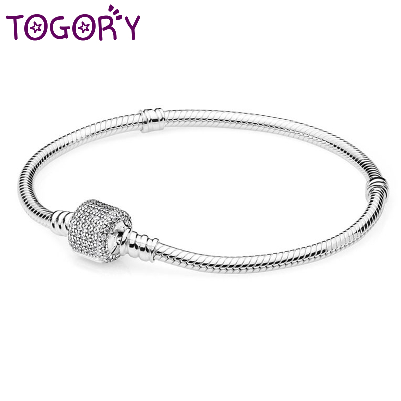 TOGORY Silver Plated 3mm Basic Snake Chain Fine Bracelet DIY Beads Jewelry Original Charms Bracelets & Bangles For Women Gift