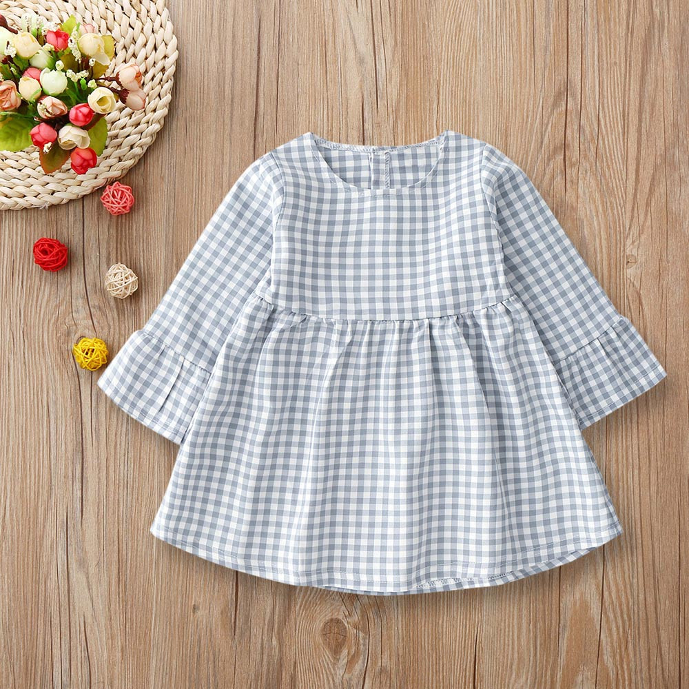 MUQGEW Infant Toddler Baby Girls clothes Plaid Flare Princess Dresses Outfits kids dresses for girls kids dresses for girls