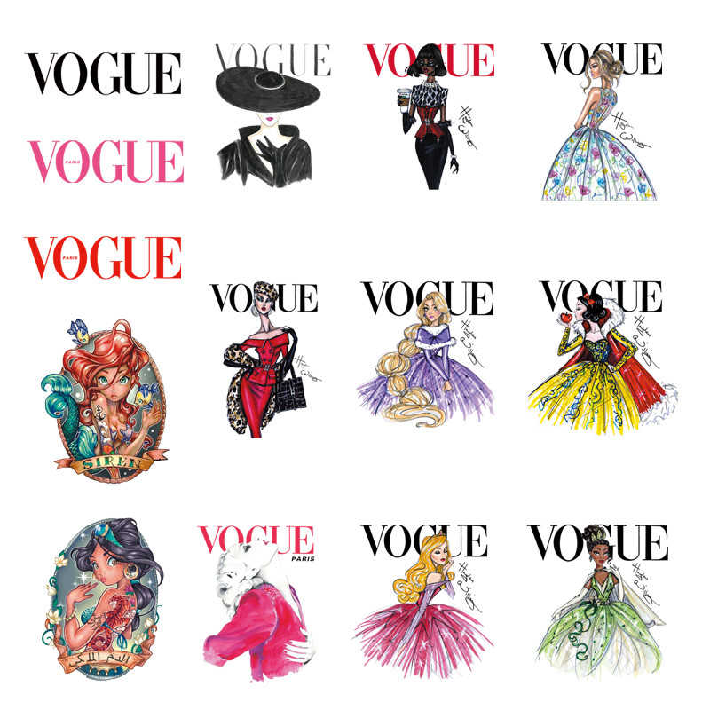 Hot 23 Models Small VOGUE Iron-On Patches For Clothes DIY T-shirt Clothing Backpack Patches Thermal Transfer Sticker
