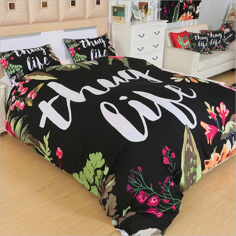 Plant flowers cotton bedding cotton brushed printing four piece custom personalized fashion 4 piece sheets