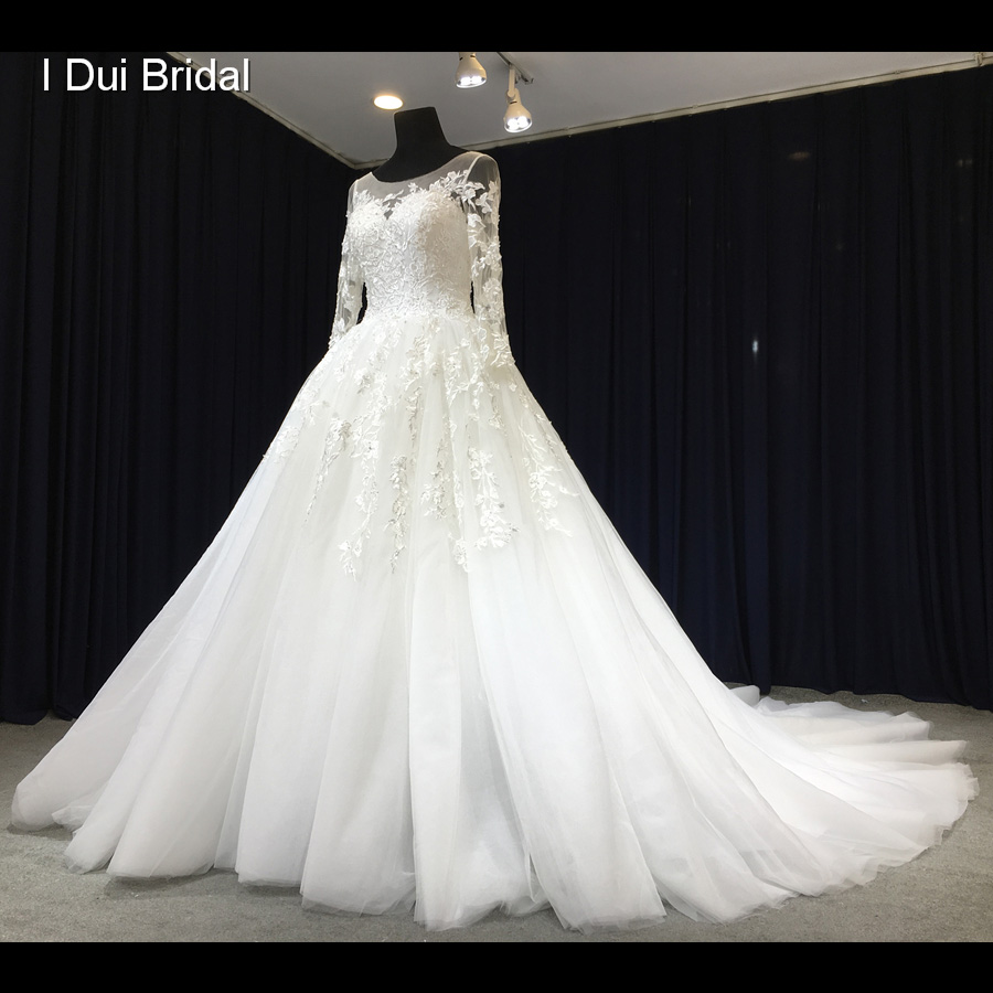 Illusion Neckline Wedding Gown: Aliexpress.com : Buy Long Sleeve Lace Wedding Dress