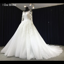 Long Sleeve Lace Wedding Dress Illusion Neckline Tulle Ball Gown Bridal Gown(China)