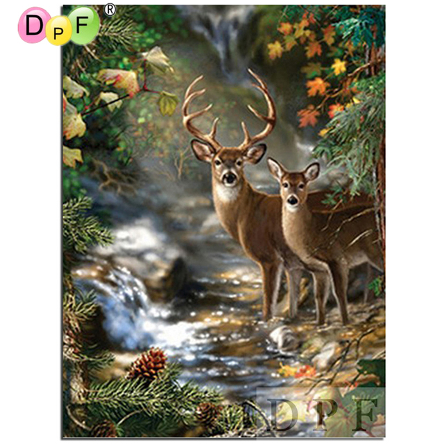 DPF diamond embroidery river deer diamond painting cross stitch crafts diamond mosaic kit full  square rhinestone home decors