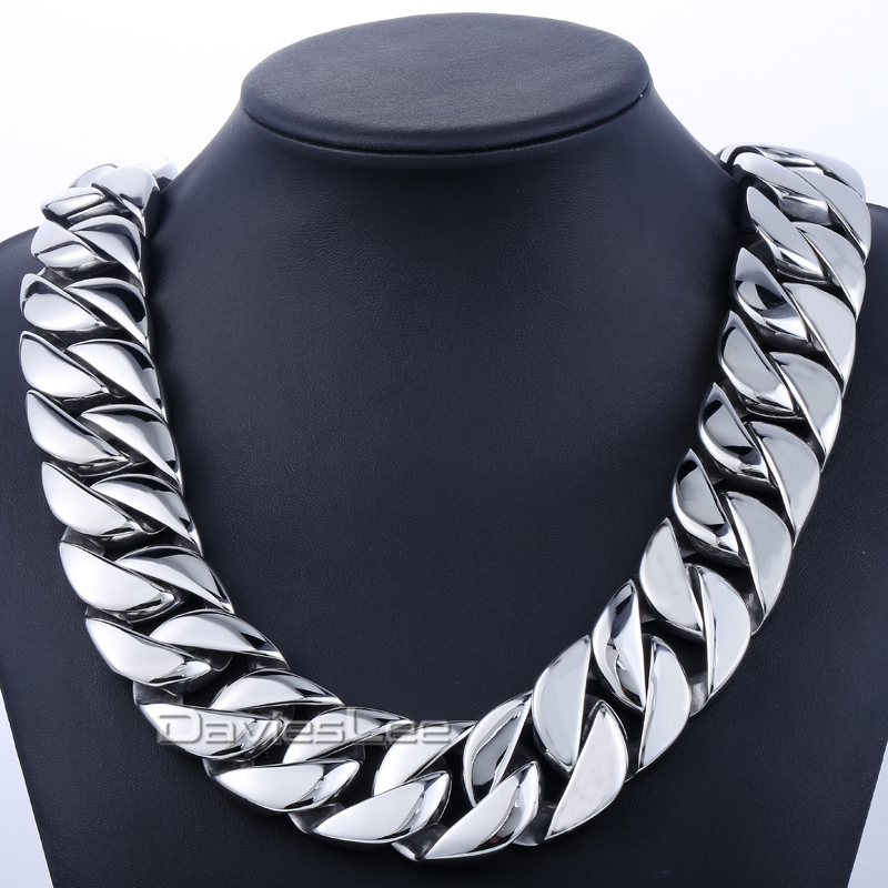 где купить New Gift 31mm Super Heavy Curb Chain Boys Mens Chain Silver Tone 316L Stainless Steel Necklace Personalize Size Jewelry DLHN35 по лучшей цене