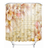 Shower Curtains 3D Golden Morning Glory Pattern Bathroom Curtains Waterproof Washable Bath Curtain Bathroom Products