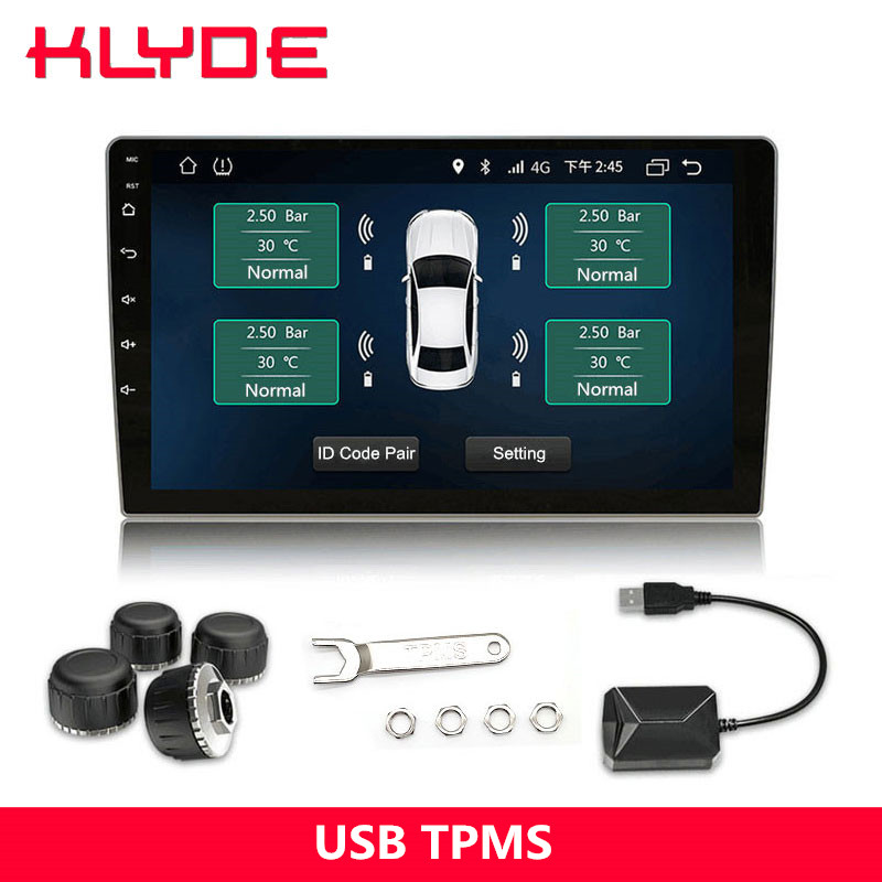 KLYDE USB Car Tire Pressure Monitoring System TPMS for Car Radio Display the Tempreature and Pressure