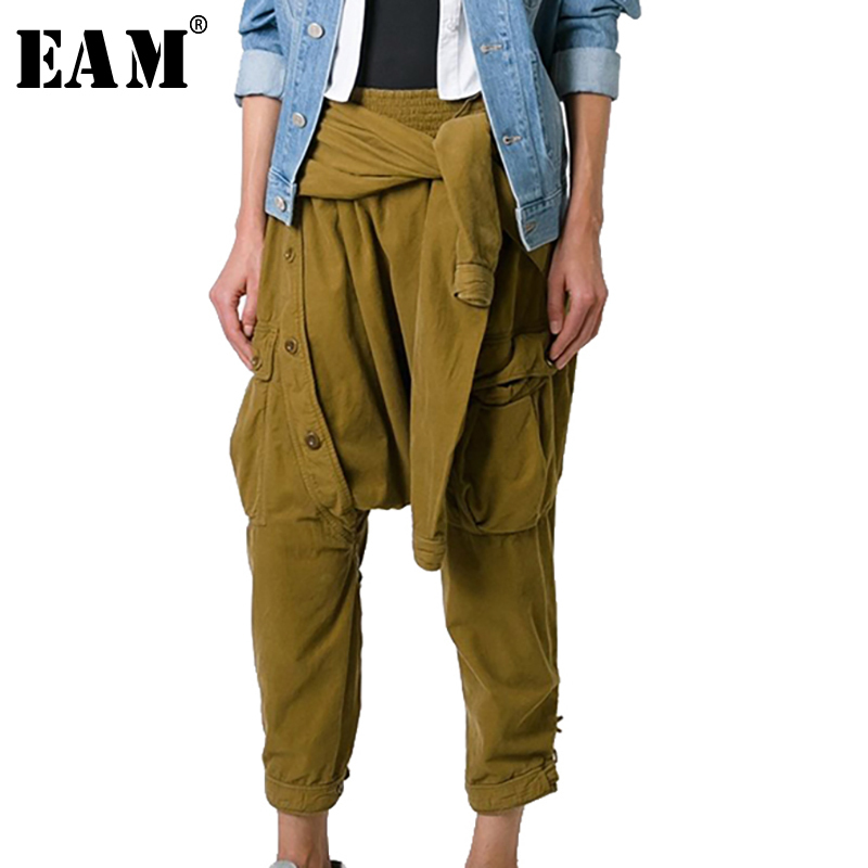 [EAM] 2018 Новый осень зима Высокая талия черный пояс Badgae крест Bandgae штаны со швами Для женщин брюки моды прилив JG754