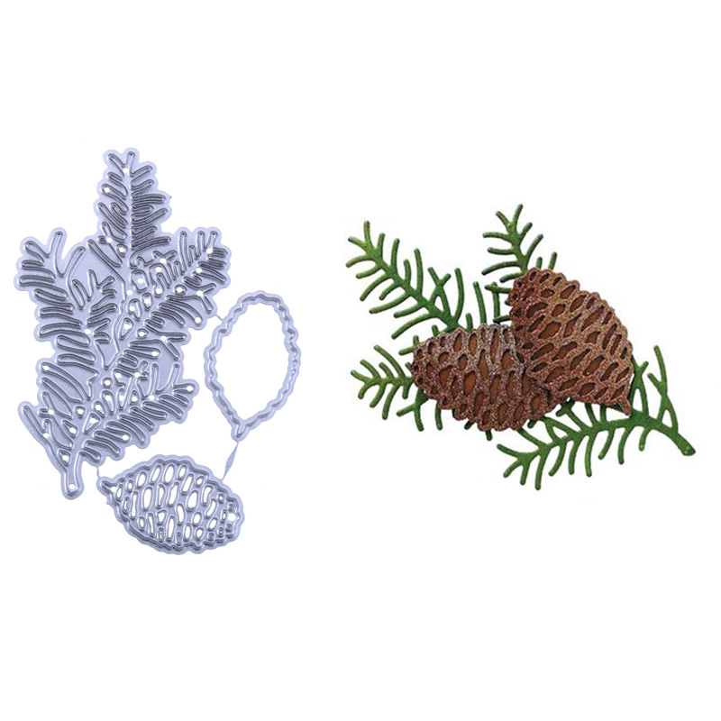 2018 New Pine Cone Leaves Fruit Metal Cutting Dies Embossing Stencil Scrapbooking Album Card Making Decoration DIY Craft