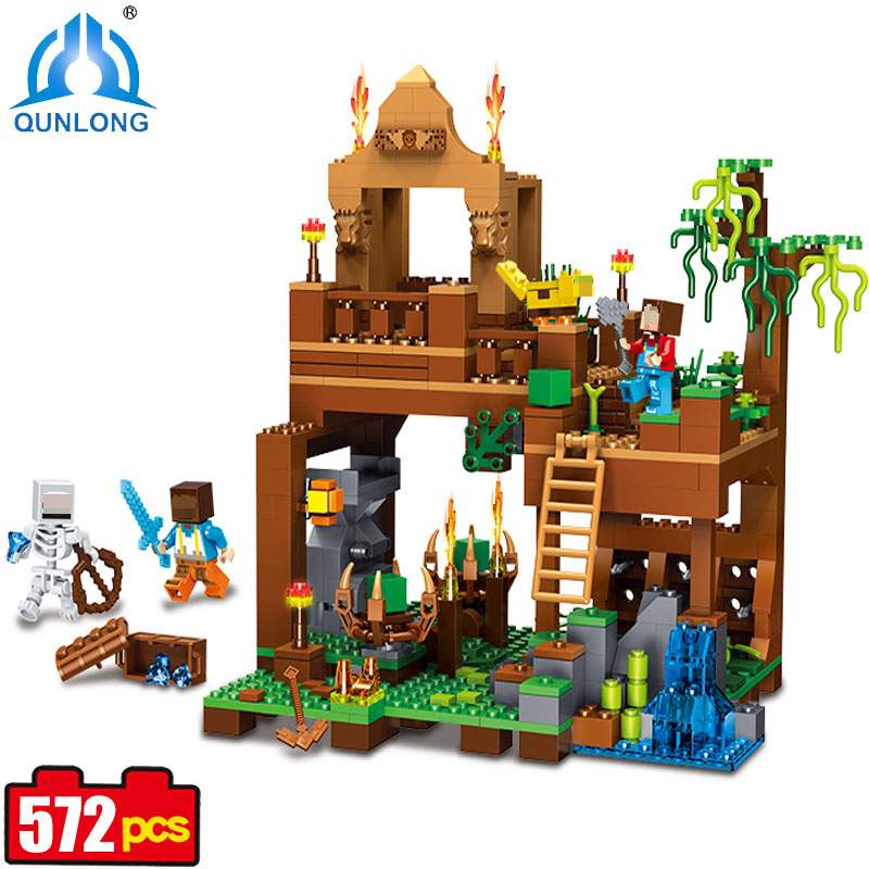 Qunlong My World Village Building Blocks Forest Castle Collector's Model Compatible Legoe Minecraft Figures With Lepine Kids Toy qunlong 0521 my world volcano mine building blocks toy compatible legoe minecraft building block city educational boys toy gift