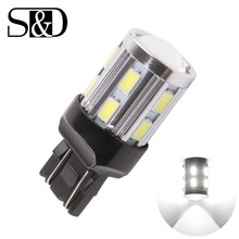 цена на 7443 7440 Car LED bulbs 12 SMD 5730 W21/5W 5W High power Cree Led Chip lamp Bulbs car light source parking  white