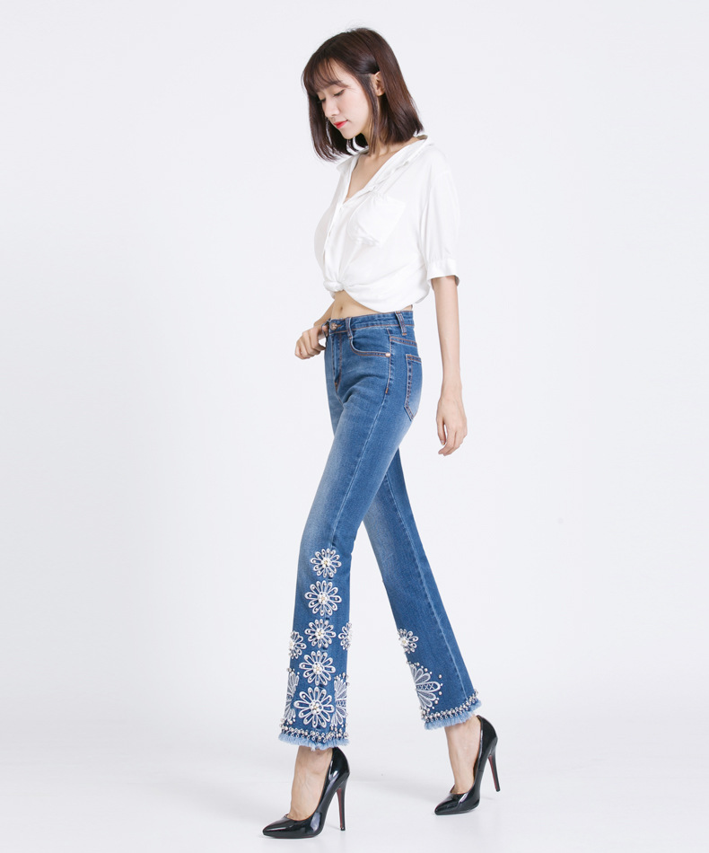 FERZIGE Jeans Women Summer Slim Stretch Embroidered Flares Bells Ankle Length Pants Manual Beads