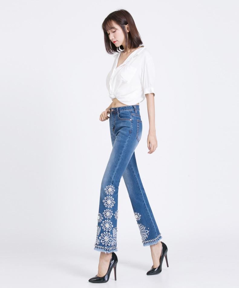 KSTUN FERZIGE Jeans Women Summer Slim Stretch Embroidered Flares Bells Ankle Length Pants Manual Beads Light Blue Elegant Ladies Girl 12
