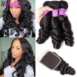 Upretty свободные волнистые пучки с закрытием 3 пучки бразильские волосы плетение пучков свободная волна натуральные волосы пучки с закрытием