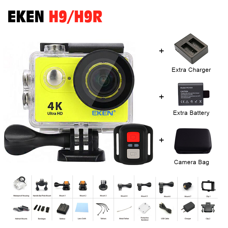 Battery+Dual Charger+Bag Send! Action camera EKEN H9/H9R 4K sports Ultra hd 1080P/60fps 4 K 170D pro waterproof go Remote Camera