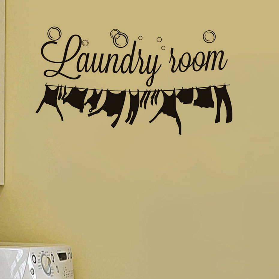 Laundry Room Wall Sticker Laundry Signs Window Wall Decor Art ...