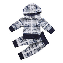 Winter & Autumn Newborn Baby Kids Boy Girl Clothes Brief Hooded Long Sleeve Tops Long Pants Outfits Fancy 2pcs Print Active Set