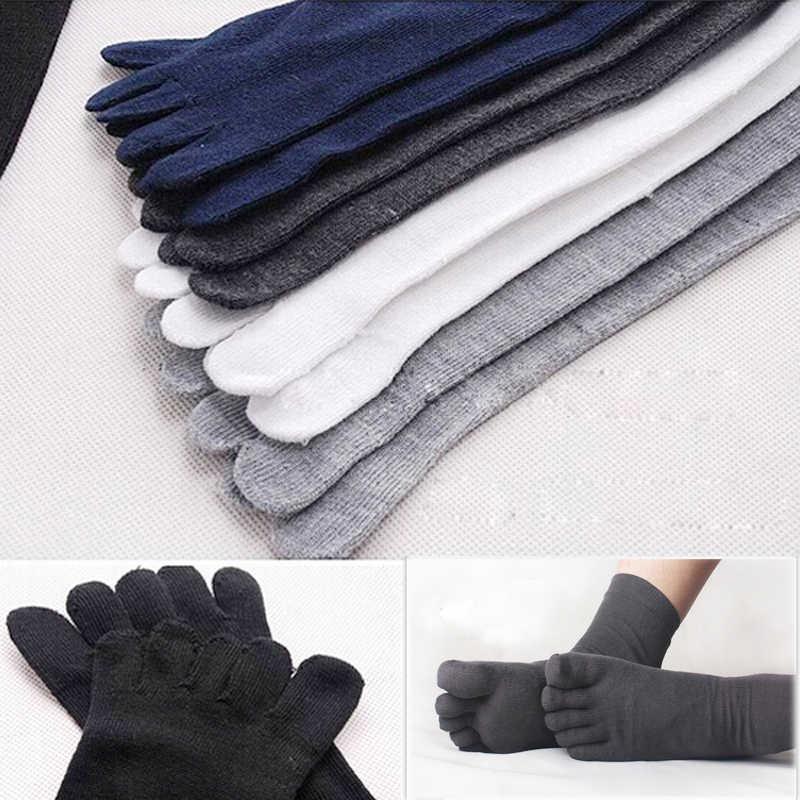 Горячая Распродажа, теплые осенние стильные носки, мужские носки из чистого хлопка с пятью пальцами, удобные носки, подарки для мужчин, 6 цветов, 5 пара
