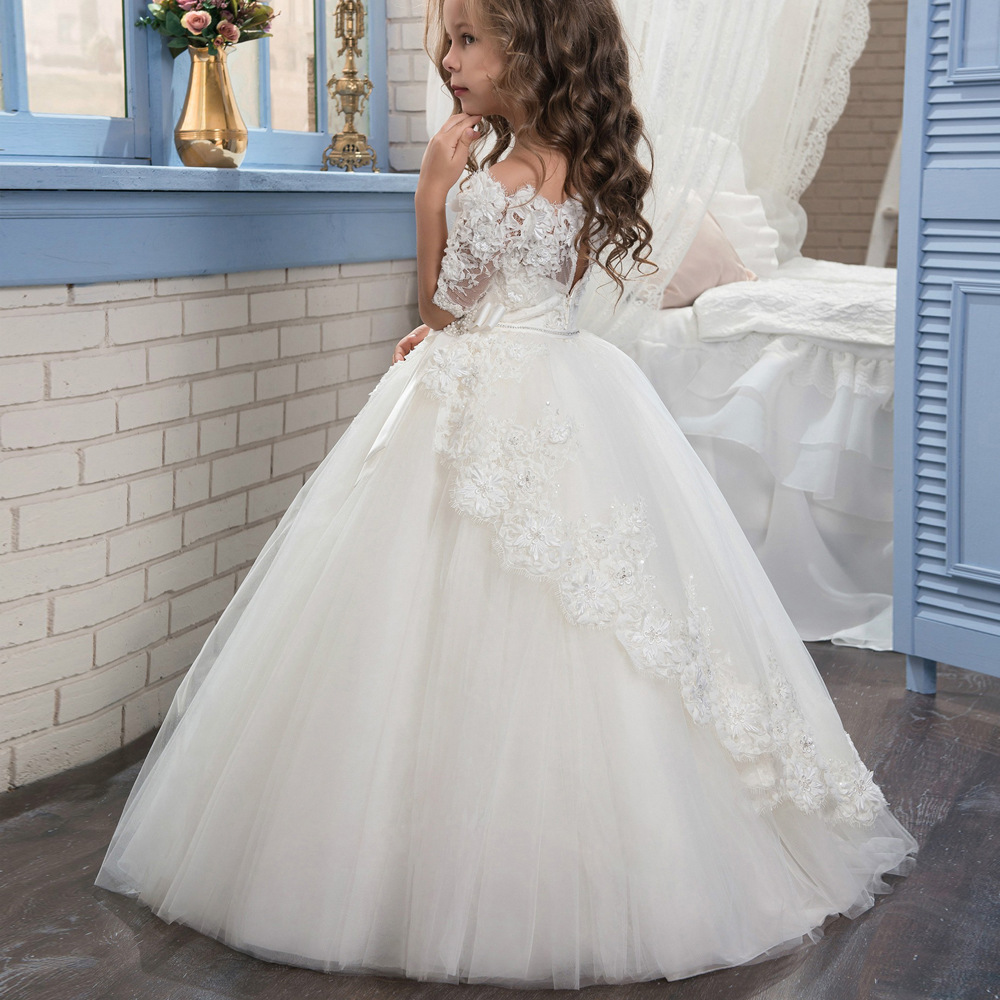 Flower Girl Dresses Formal Lace Sleeveless Ball Gown O-neck Beading First Communion Dresses for Girls Vestidos Longo New Arrival