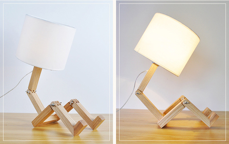 Nordice Modern Creative Gifts Foldable Robot Desk Table Lamps Wooden Base Table Lamp Bedside Reading Desk Lamp Home Decor Light Fixture (7)