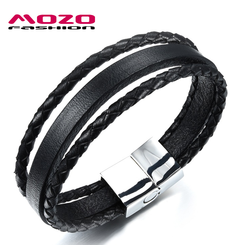 Black Leather Bracelet with Stainless Steel Clasp - 202mm 1iiX1om7Zc