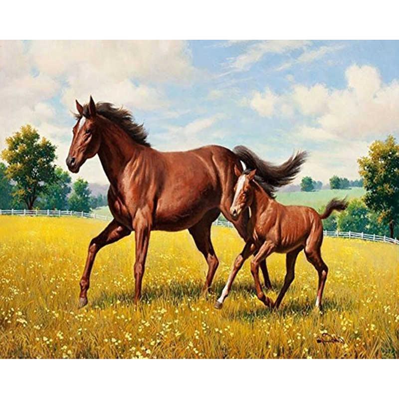 יהלומי ציור בעלי החיים סוס פסיפס 5d DIY יהלומי רקמת סוס מלא עגול/תרגיל כיכר תפר צלב הבית דקורטיבי קרפט