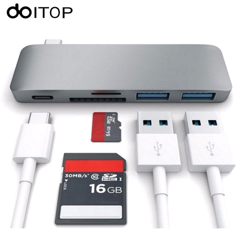 DOITOP USB-C Hub Multiport Type-C HUB Adapter Converter with 2 USB 3.0 Ports Type C Charging Port SD/TF Card Reader for MacBook