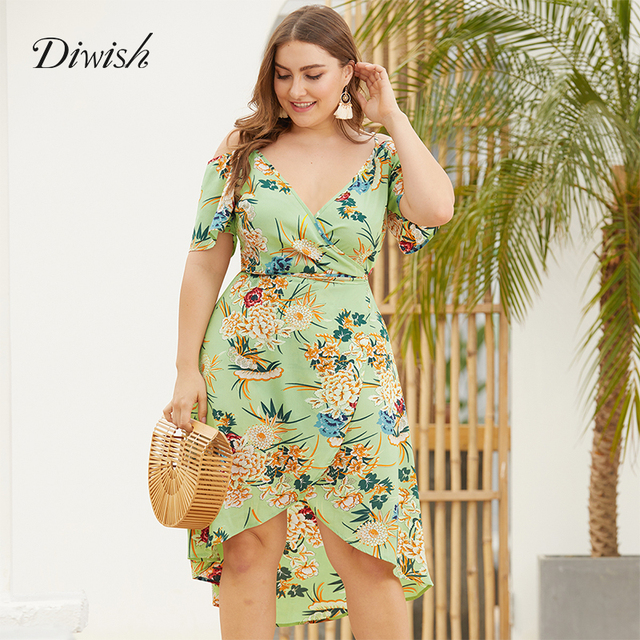 Diwish Women Summer Beach Dress 2019 Sexy Print V Neck Dress Spaghetti Strap Short Sleeve Plus Size Dresses Casual Dress XL-4XL