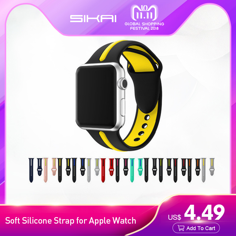 SIKAI Soft Silicone Strap Band for Apple Watch 42mm 38mm Double Color Rubber Sport Wrist Bracelet Watch Straps for iwatch 3/2/1