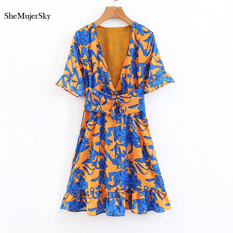 Shemujersky Printed <font><b>Dress</b></font> Women Empire Tunic <font><b>Deep</b></font> <font><b>V</b></font> Neck Clubwear Clothes <font><b>Sexy</b></font> <font><b>Dresses</b></font> image