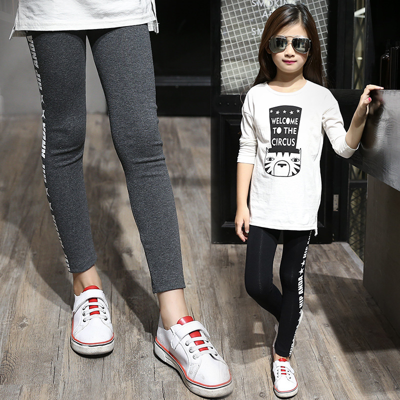 Weixu Baby Leggings for Girls Pants Autumn Winter Kids Girl Robe Enfant Skinny Letter Cotton Clothes Children Trousers Leggings in Pants from Mother Kids