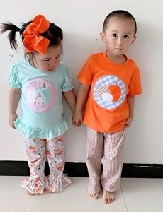 Image 5 - Puresun 할로윈 디자인 새로운 패션 소녀 부티크 복장 호박 applique patterntop 소녀 꽃 프릴 바지 어린이 의류