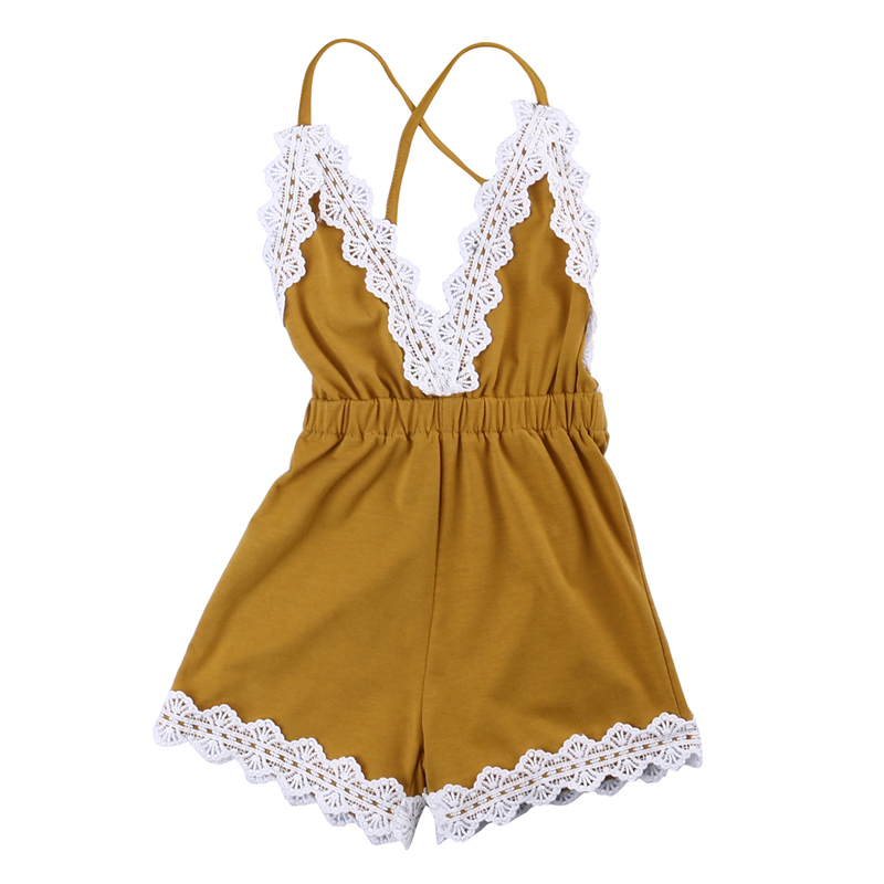 Summer Baby Girls Halter Lace Sleeveless   Romper   Jumpsuit One-pieces Sunsuit Clothes 0-24M