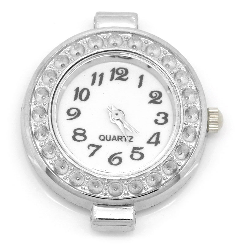 Hot Selling Low Price 2 Pcs Watch Face Round Rhinestone Silver Tone 3cmx2.7cm(1 1/8