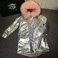 Свободный корабль женщины зима мех г-жа пальто 2016 новый бренд моды жакет роскошный енот меховой воротник пальто теплый меховой подкладке тонкий куртка