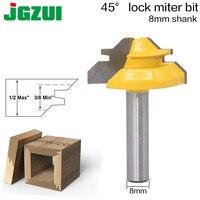 1 St 45 Graden Lock Mijter Router Bit 8 Inch Shank Houtbewerking Tenon Frees Tool Boren Frezen Voor Hout Carbide Legering