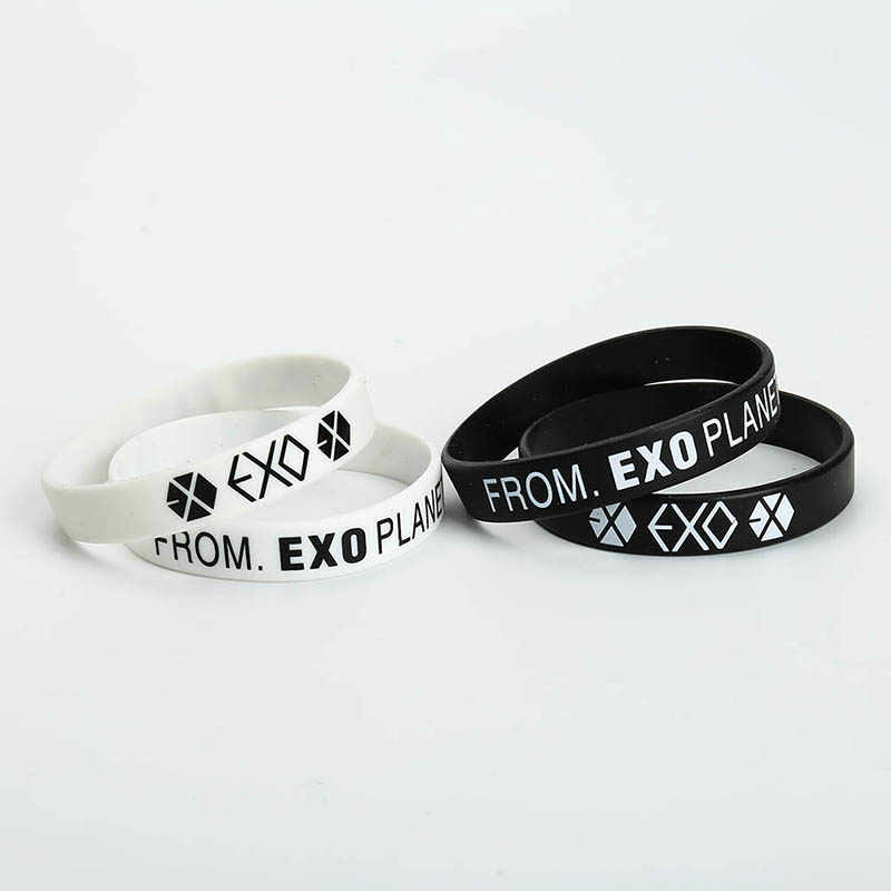 1 Pcs KPOP EXO Album Birthday Bracelets Sport Silicone Friendship Wristband Bangles Fashion Accessories For Men Women