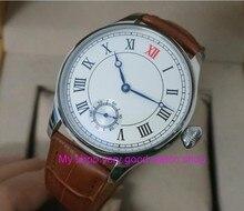 44mm parnis mostrador branco asian 6498 movimento do vento mão mecânica dos homens relógio mecânico relógios de pulso por atacado 145