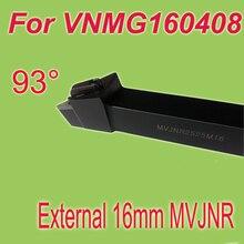Free Shiping  MVJNR  16*16*100mm  93  Degree External Clamping Locked  Lathe Tool Holder For VNMG160408 Work On Lathe Machine