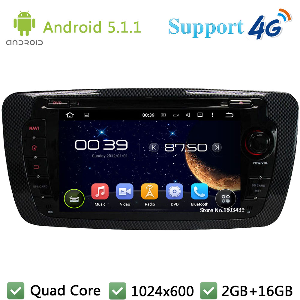 Quad Core 7″ 1024*600 2DIN Android 5.1.1 Car DVD Player Radio Stereo Screen PC 3G/4G WIFI DAB+ GPS Map For Seat Ibiza 2009-2014