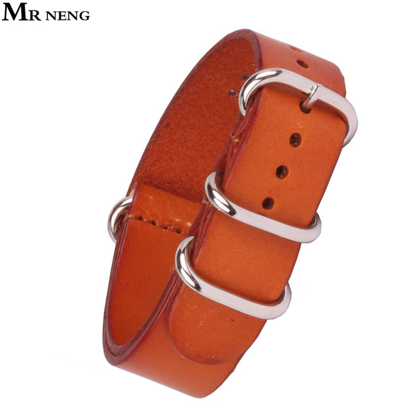 MR NENG Brand 1PCS 18MM 20MM 22MM 24MM Nato Strap Genuine Leather Brown Color Watch Band NATO Straps For Zulu Strap Watch Strap