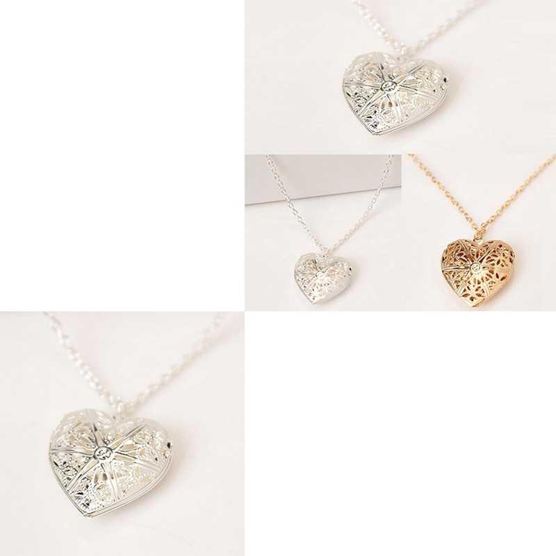 2018 новейшее ожерелье в форме сердца любовь играть открыть небольшое фото корейские женские полые ожерелье с бусинами-кубиками с цветком