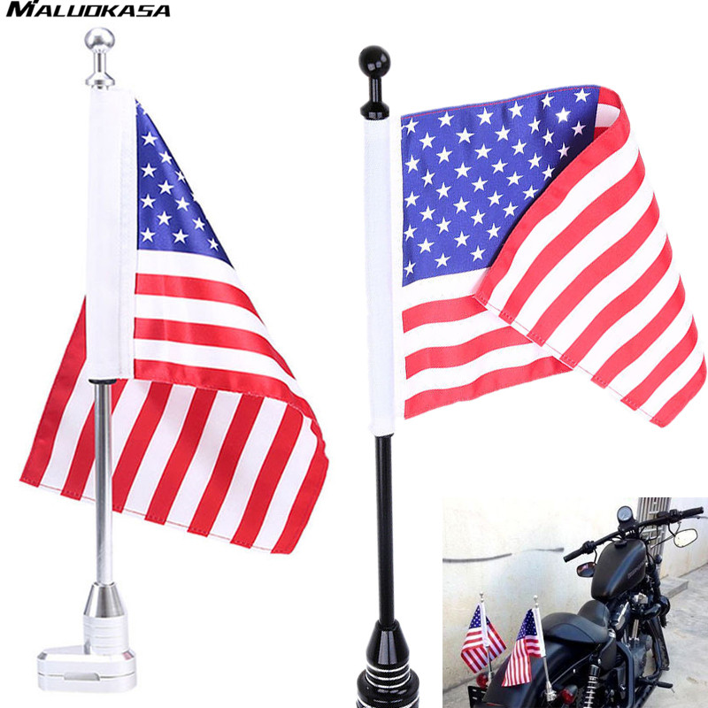 MALUOKASA Motorcycle Flag Rear Luggage Rack Mount Flag Pole+USA American Flag For Harley Bikes Bobber Choppers Custom Styling