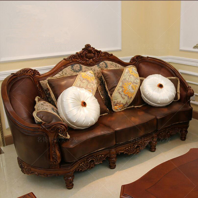 Webetop American Sofa Set Solid Wood Genuine Leather Cloth Hand Carving Apartment Furniture Luxury