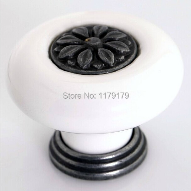 38mm white ceramic drawer kitchen cabinet knobs pulls  handle antique silver dresser cupboard furniture door knobs handles porcelain dresser knobs pulls drawer pull handles kitchen cabinet door knobs white gold silver furniture cupboard hardware